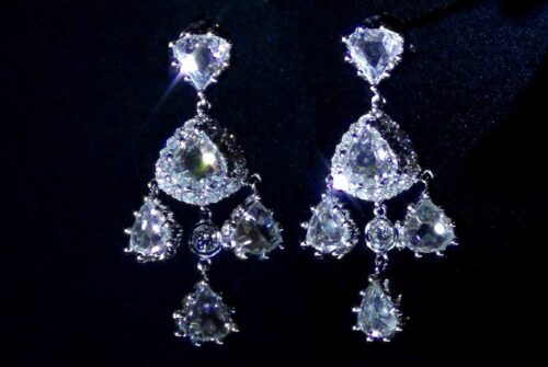 Tailor-made 18KW Rosa-cut Chandelier Earring